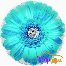 Гелиевый фольгированный круг гербера голубая