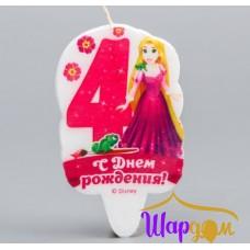 Свеча в торт С Днём Рождения цифра 4 (Принцессы:Рапунцель)