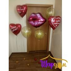 Гелиевые фольгированные губы и гелиевые сердца и шары с конфетти