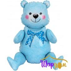 Сидячий мишка, голубой (Надувается только воздухом) 81 см