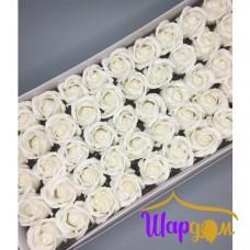 Белые розы из мыла