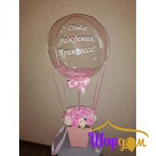 Мыльные розы в коробке со светящиемся воздушным шаром с надписью № 2