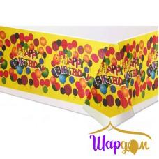 Скатерть С днём рождения (Happy Birthday жёлтая с шариками)