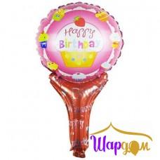 Фольгированный мини шар с днём рождения на палочке розовый