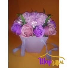 Мыльные розы в коробочке с ручками № 2