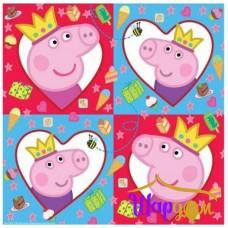 Салфетки Свинка Пеппа (в сердечки)