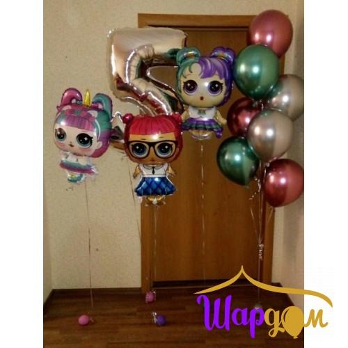 Фольгированные гелиевые куколки, цифра фольгированная и стойка гелиевая (хром шары)
