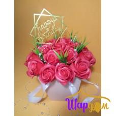 Мыльные розы в коробочке с ручками № 1