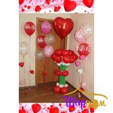 Стойка с цветами (9 сердец), гелиевая стойка, гелиевые шарик с сердечками и сердце большое