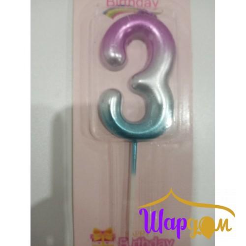 Свеча в торт цифра 3 (радужная)