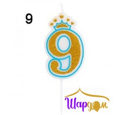 Свеча в торт цифра 9 (с короной, мальчику)