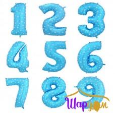 Цифры голубые с белыми звездами гелиевые из фольги
