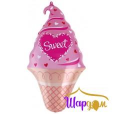 Фольгированный шар мини мороженое сладкое розовый