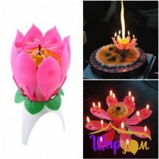 Свеча в торт цветок музыкальная