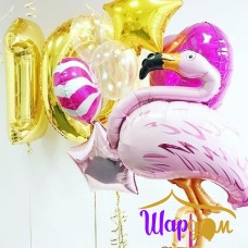 Гелиевая фольгированная фигура фламинго
