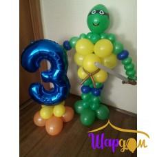 Черепашка ниндзя и фольгированная цифра три на шарах