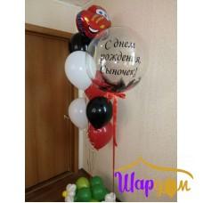 Бабл с текстом и перьями, гелиевая стойка основания в виде полянки с цветами и фольгированная машинка Молния Маквин (Тачки)
