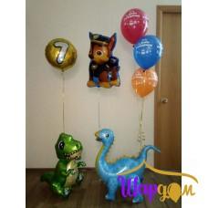 Фольгированный динозаврики, Щенячий патруль (Гончик) на шарах и фольгированный гелиевый круг с цифрой семь