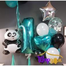 Гелиевая панда, фольгированная цифра один гелиевая и стойка гелиевая