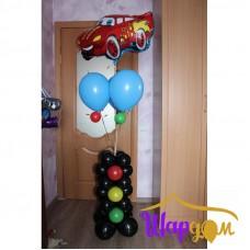 Светофор с гелиевыми шарами и машинкой фольгированной