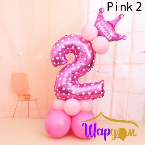 Фольгированная цифра два розовая с сердцами на шарах с короной