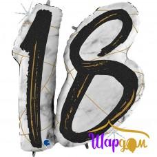 Гелиевая фольгированная фигура цифра 18, мрамор, цвет черный
