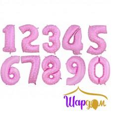 Цифры розовые с белыми сердцами гелиевые из фольги