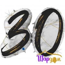 Гелиевая фольгированная фигура цифра 30, мрамор, цвет черный