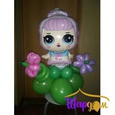 Фольгированная кукла хрустальная королева на полянке