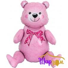Сидячий Мишка,розовый (Надувается только воздухом) 81 см
