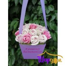 Мыльные розы в коробочке с ручками № 3