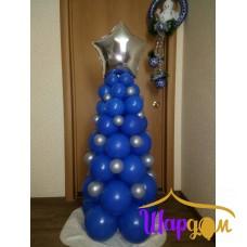 Ёлка синяя с серебрянными фонариками
