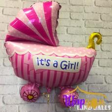 Гелиевая фольгированная коляска (it'sa Girl!)