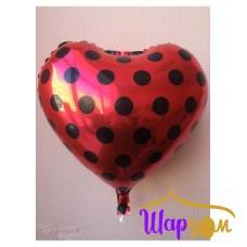 Гелиевое фольгированное сердце красное с чёрными кругляшками