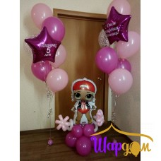 Гелиевые стойки с надписью на звёздах и фольгированная кукла M.C на шарах