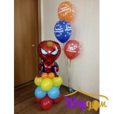 Человек паук фольгированный на шарах и стойка гелиевая