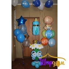 Гелиевая стойка, бутылочка фольгированная гелиевая (it'sa Boy!), стойка с цветами и гелиевая стойка с малышом