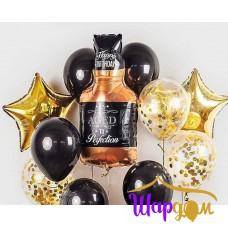 Гелиевая фольгированная фигура бутылка Виски