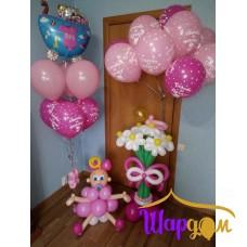 Гелиевая стойка с коляской, шары гелиевые, стойка с цветами и пупс