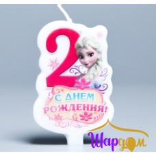 Свеча в торт С днём рождения цифра 2 (Холодное сердце)